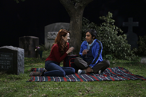 """The Commitment Determination"" --  Sheldon pushes Leonard and Penny to choose a date for their wedding and deals with dramatic changes in his own relationship with Amy, on THE BIG BANG THEORY, Thursday, May 7 (8:00-8:31 PM, ET/PT), on the CBS Television Network. Pictured left to right: Laura Spencer and Kunal Nayyar Photo: Sonja Flemming/CBS ©2015 CBS Broadcasting, Inc. All Rights Reserved"